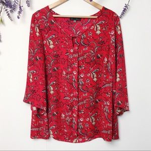 Rose & Olive Paisley Floral 3/4 Sleeve Blouse